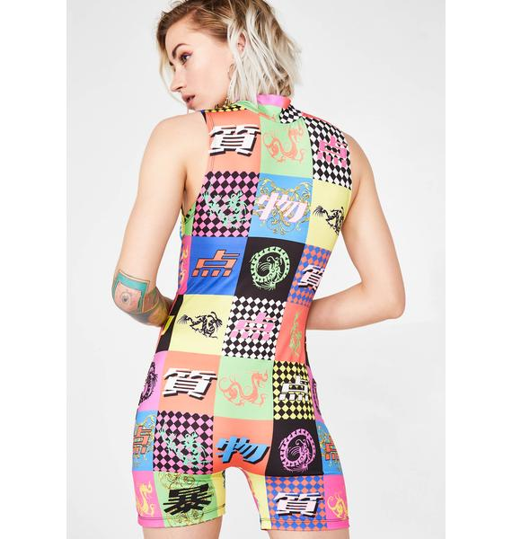 Jaded London Tokyo Script Checkerboard Print Cycling Short Playsuit