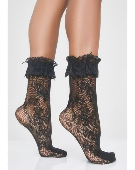 Midnight Romantica Lace Socks