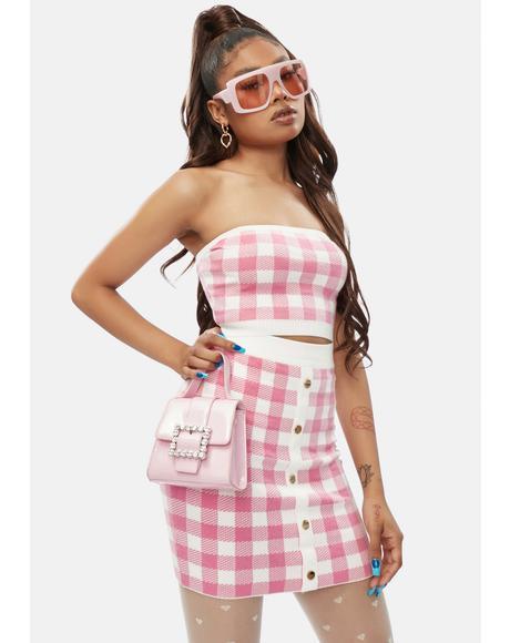 Diva Higher Fashion Gingham Mini Skirt