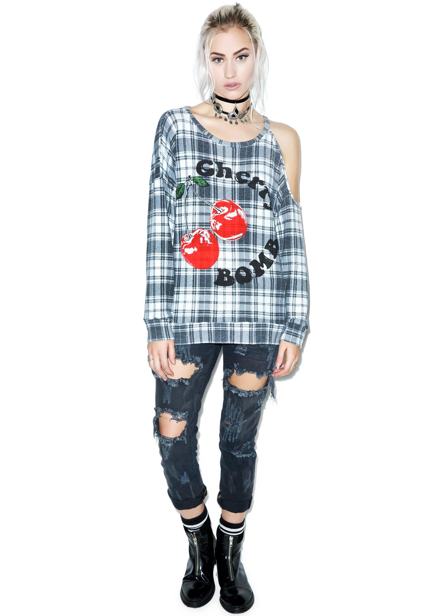 Lauren Moshi Quinn Cherry Bomb One Open Shoulder Pullover