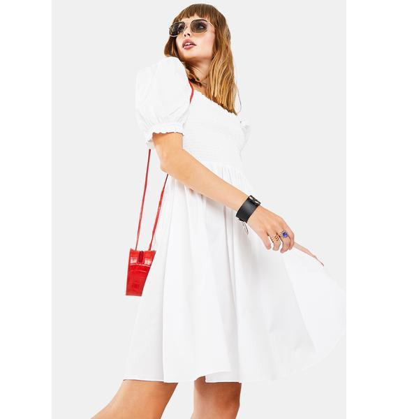 Glamorous White Puff Sleeve Babydoll Dress
