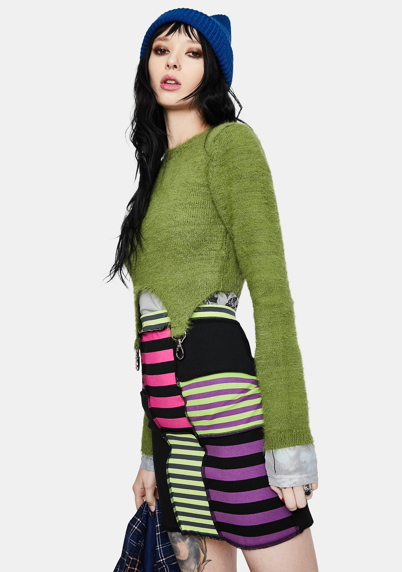 The Ragged Priest Damage Striped Patchwork Skirt