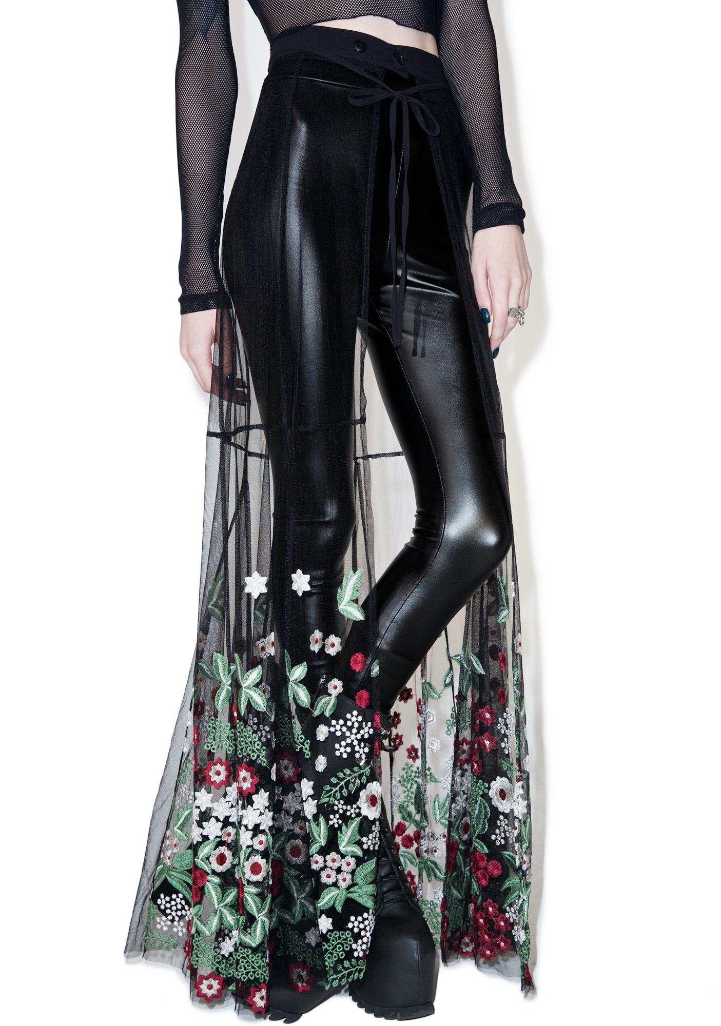 Sheer Wrap Skirt With Flowers Dolls Kill
