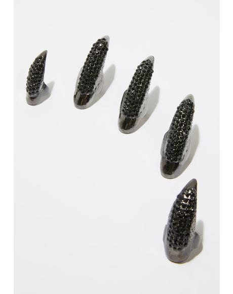 Panther Paw Nail Ring Set