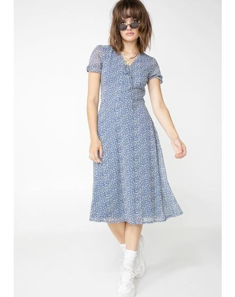 Ditsy Print Midi Dress