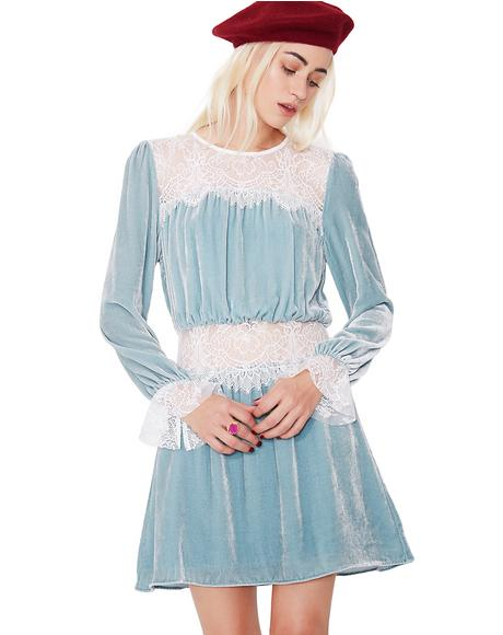 Beatrix Velvet Lace Mini Dress