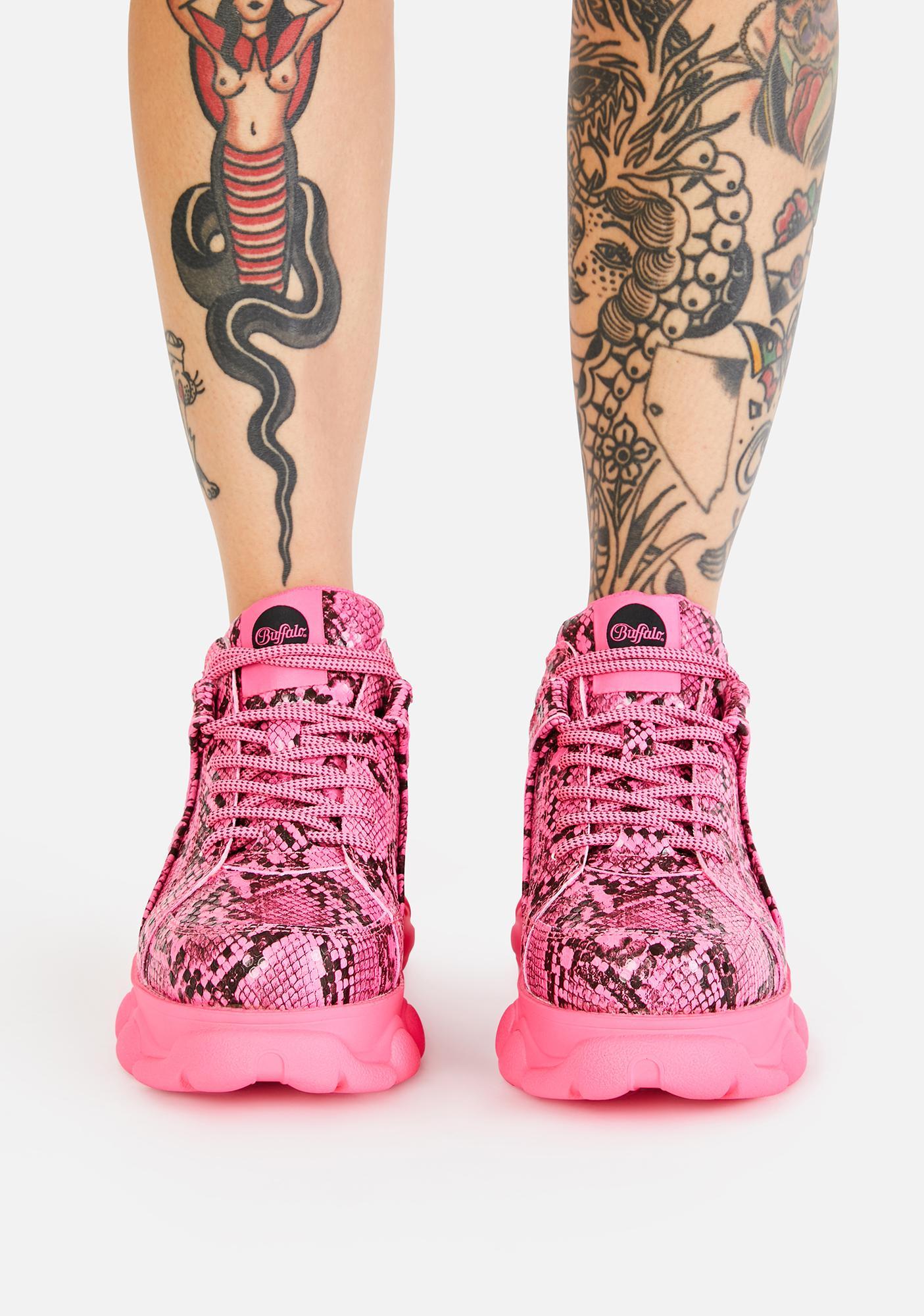 Buffalo Pink Snakeskin Corin Platform Sneakers
