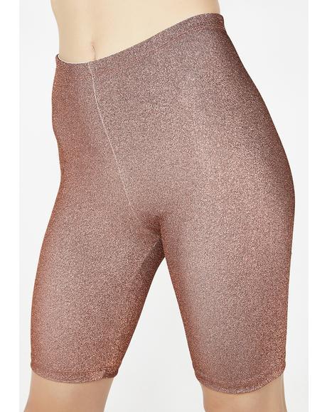 Bronzed Sparkle Sparkle Biker Shorts