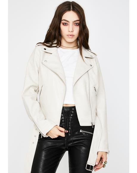 Putty Belted Moto Jacket