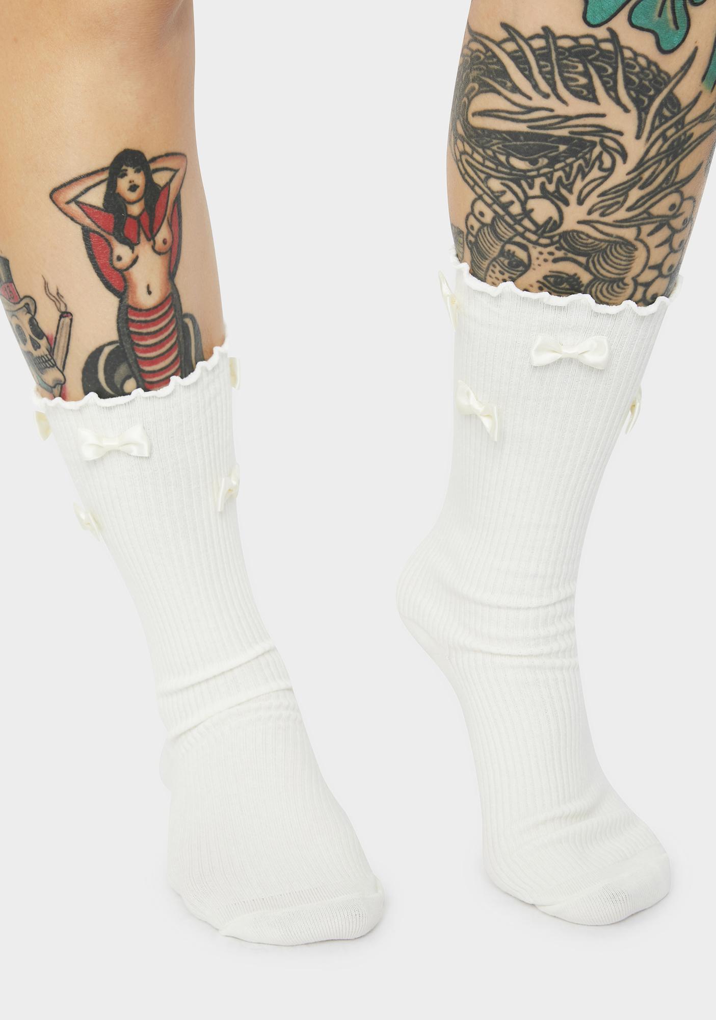 Real Delight Bow Crew Socks