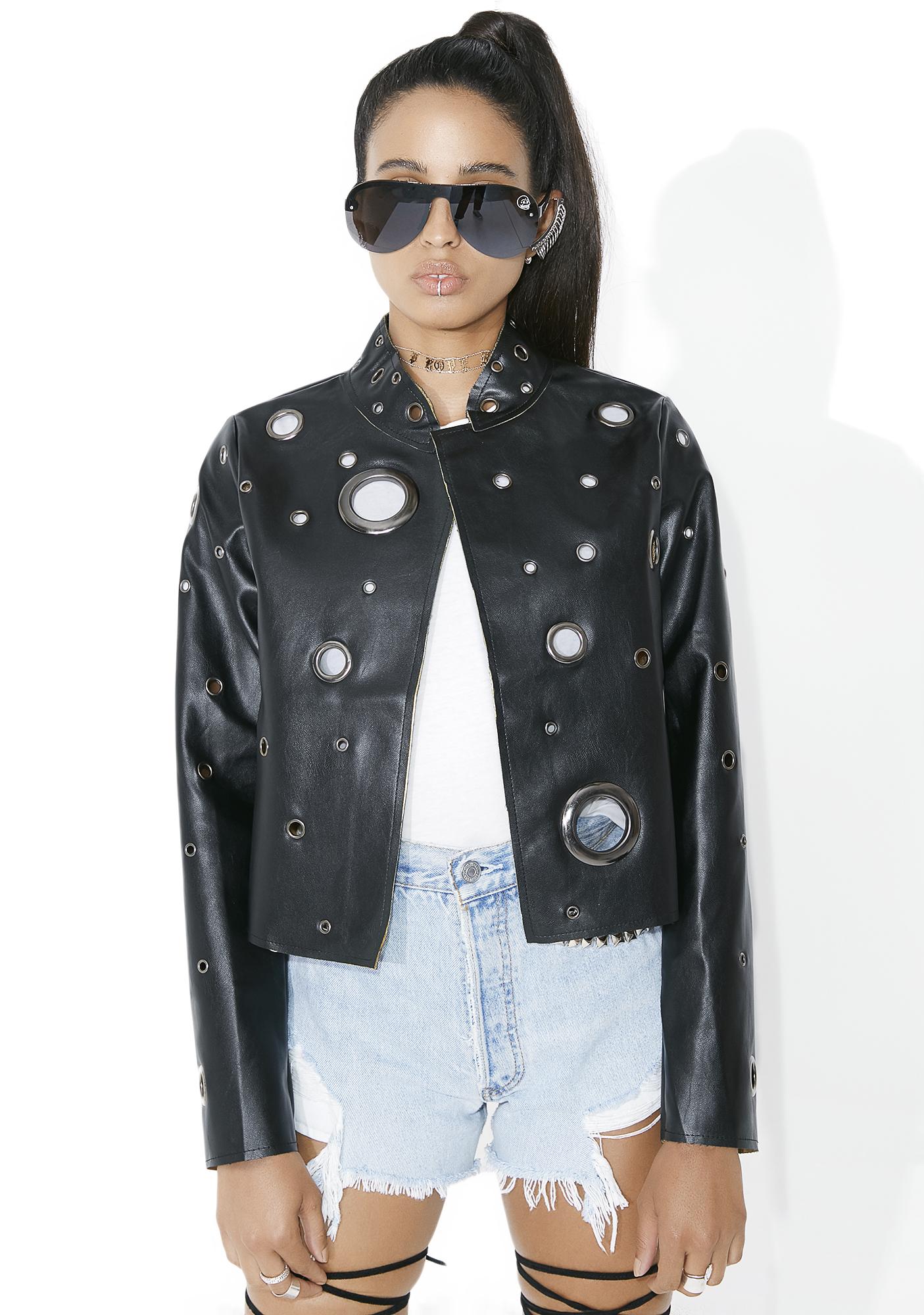 Black Hole Vegan Leather Jacket
