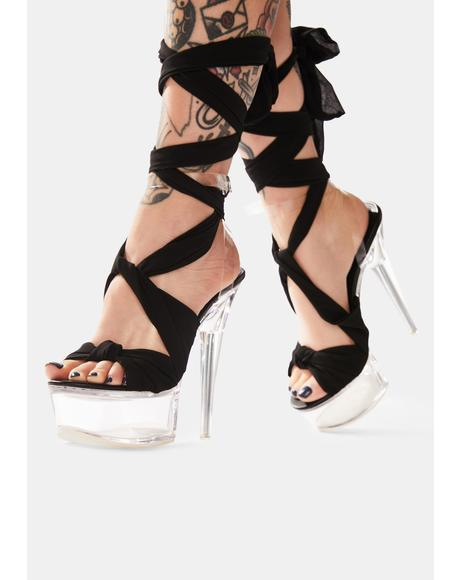Black Secrets Wraparound Clear Acrylic Heels