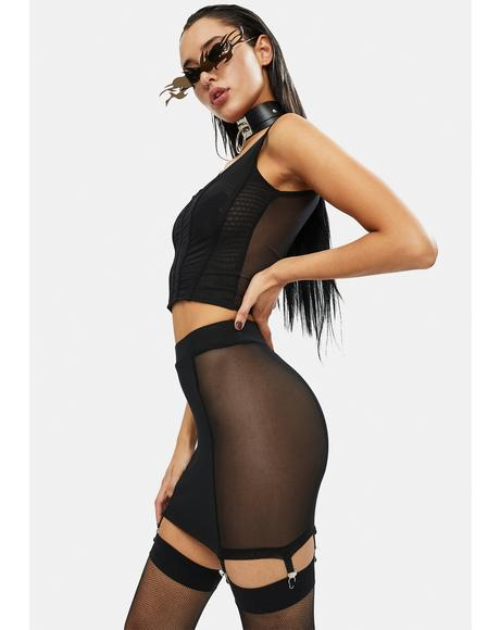 Get Lucky Mesh Structured Corset Top
