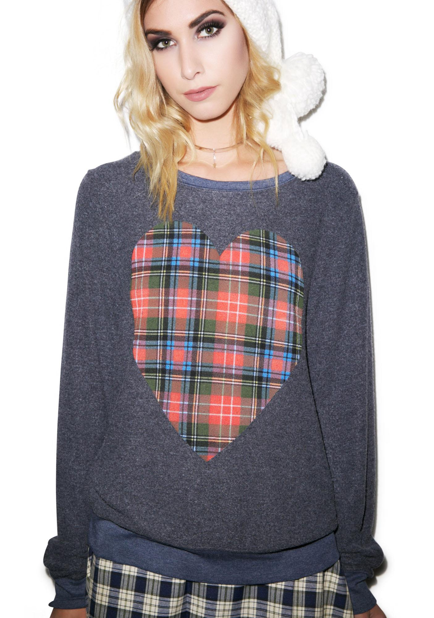 Wildfox Couture Tartan Heart Baggy Beach Jumper