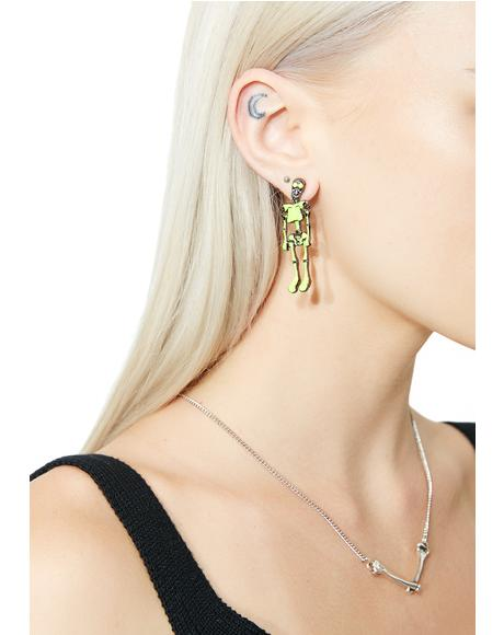 Glow Bare Bones Skeleton Earrings