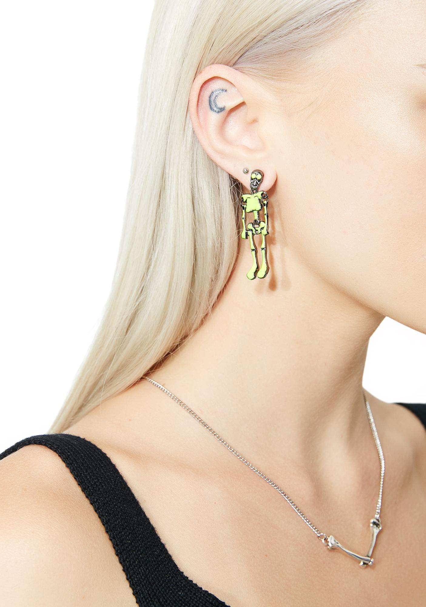 Glow Bare Bones Skeleton Earrings