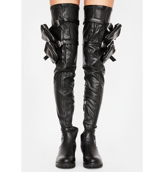 AZALEA WANG Surgical Utility Thigh High Boots
