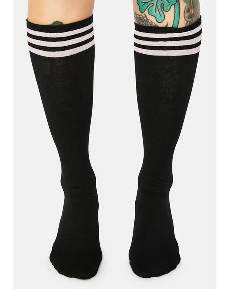 Blush Dark Sporty Sass Stripe Knee High Socks