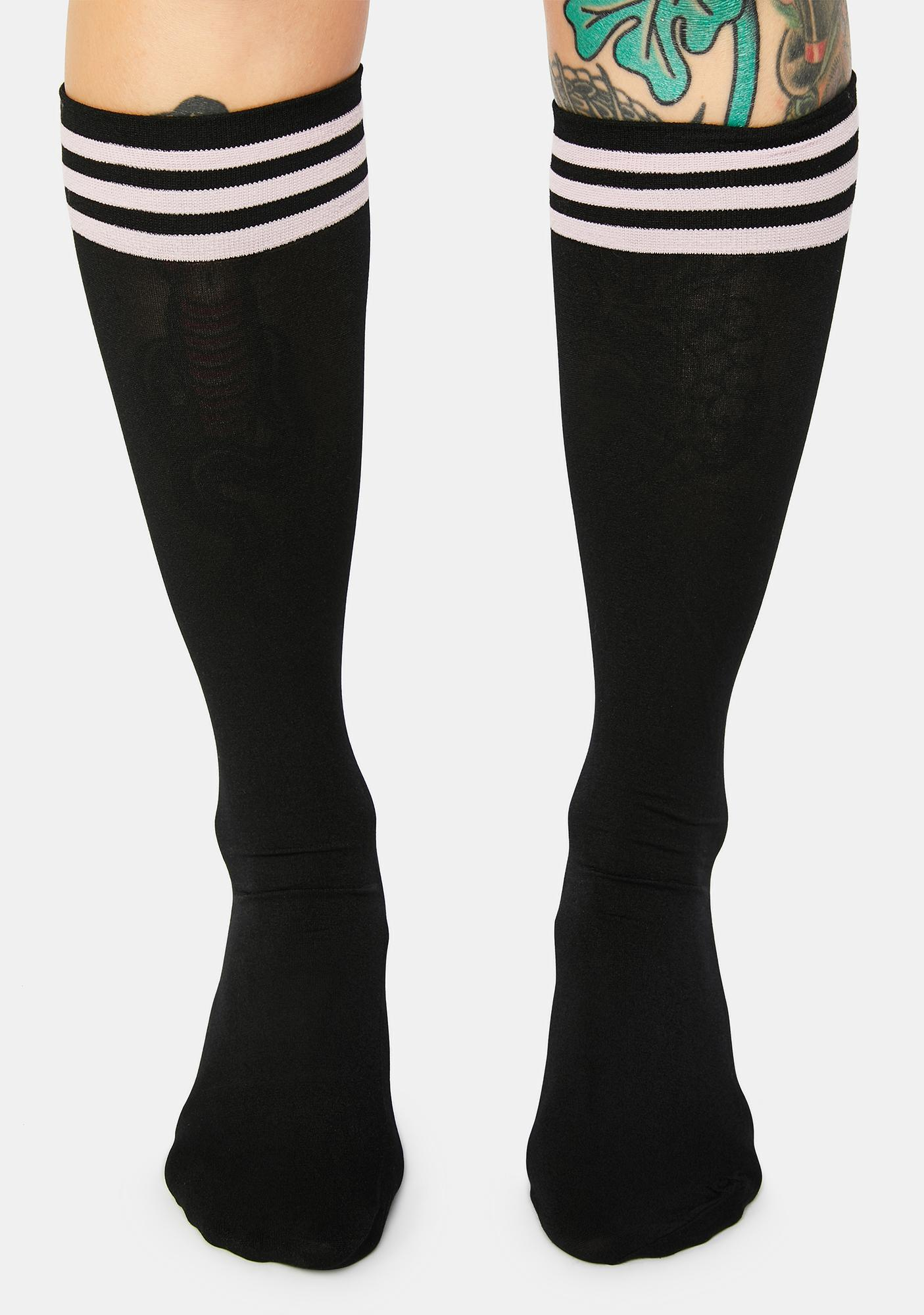 Blush Dark Sporty Sass Stripe Knee High Socks
