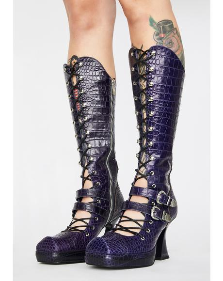 Crocodile Lace Up Leather Boots
