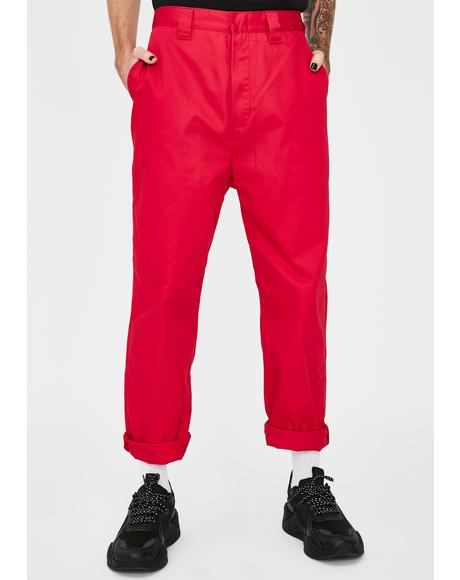 Fuchsia Patched Work Pants