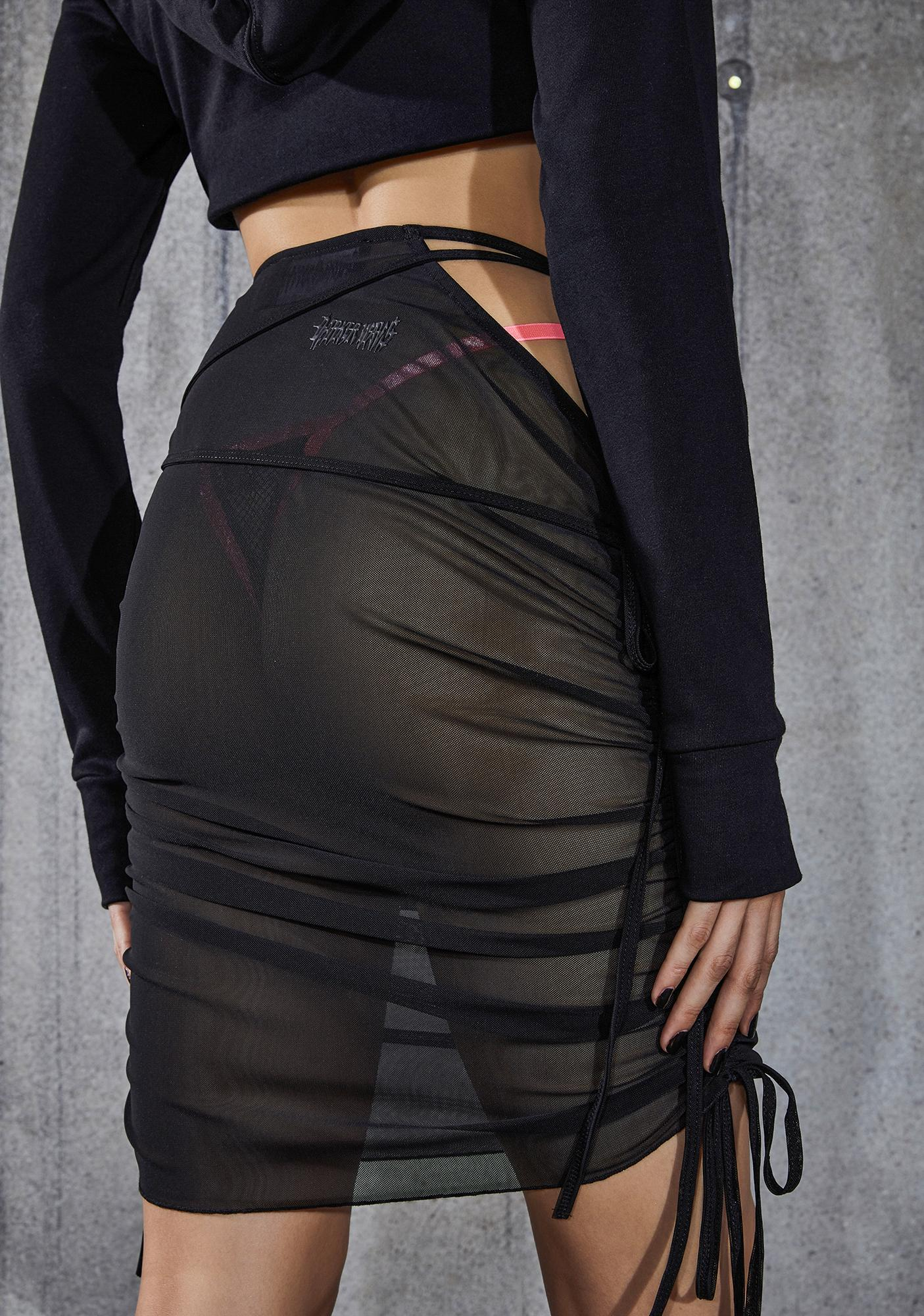 DARKER WAVS Snare Ruched Mesh Cut-Out Midi Skirt