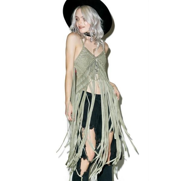 Green Goddess Fringed Top
