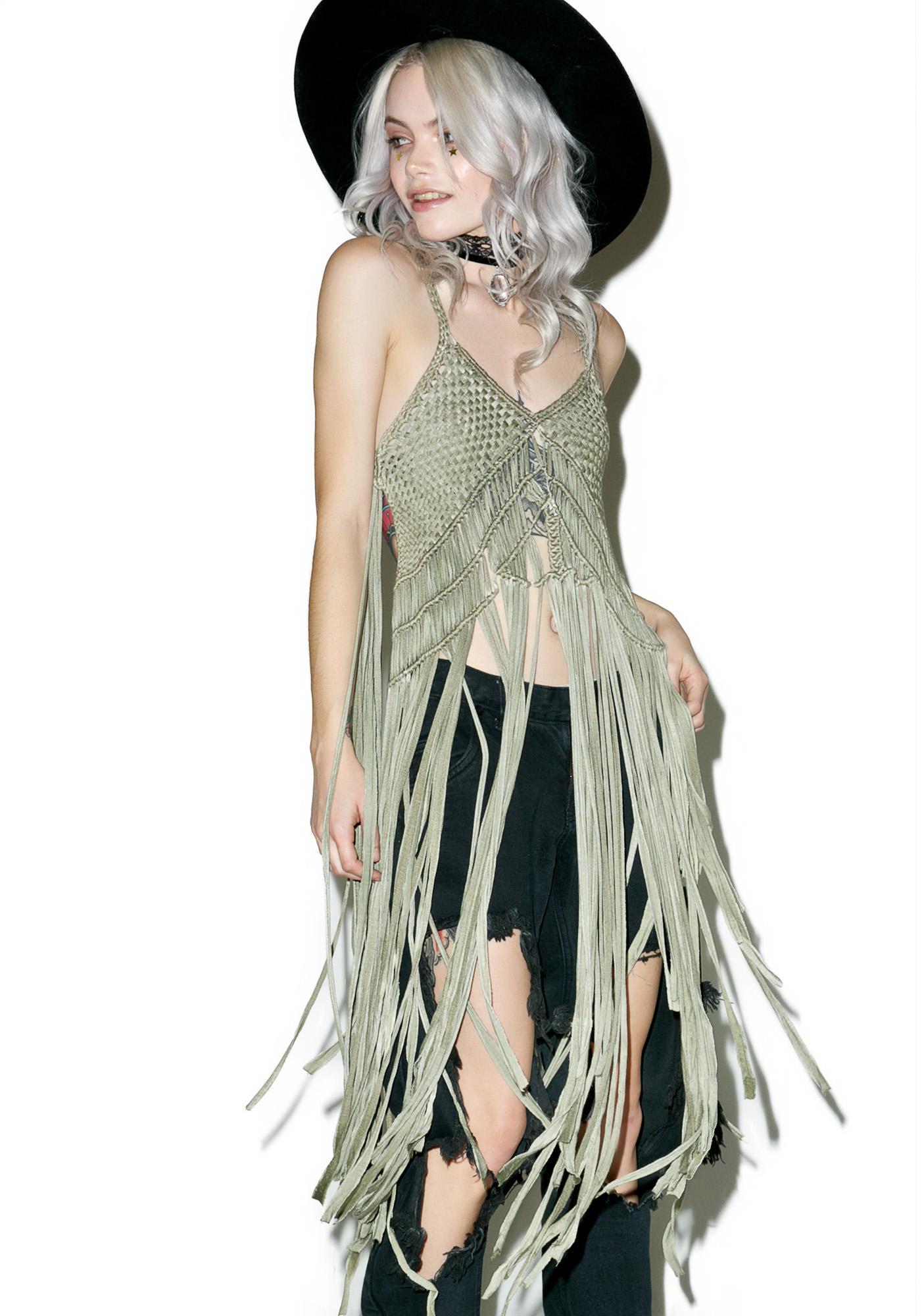 Green Goddess Fringed Top
