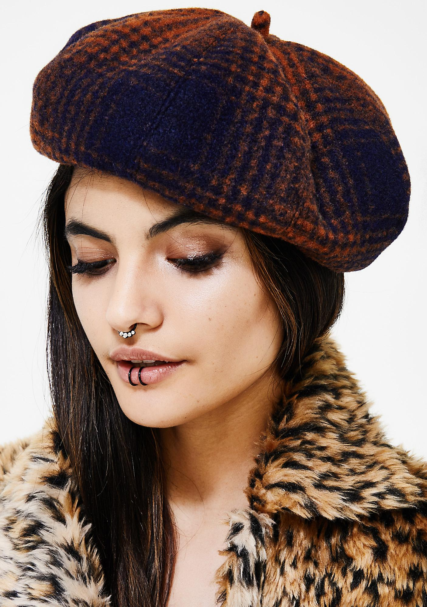Down N Out Plaid Beret