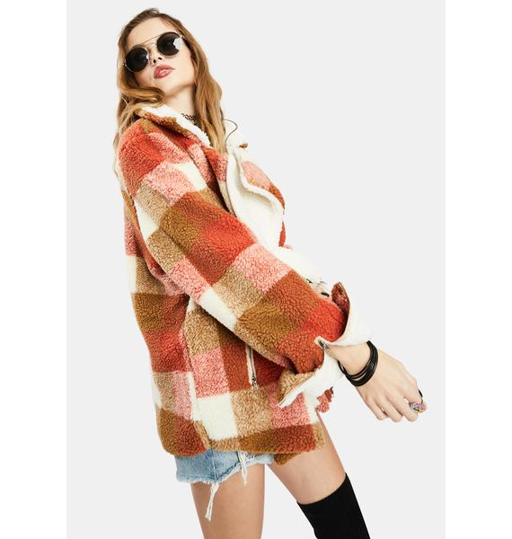 Forsaken Truth Gingham Faux Fur Jacket