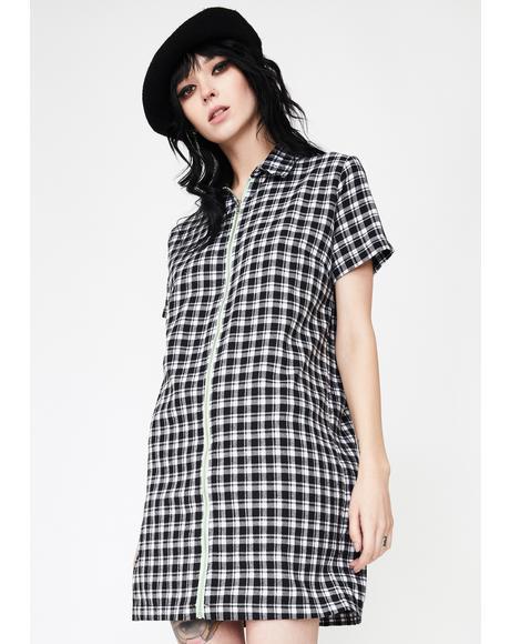 Check Zip Shirt Dress