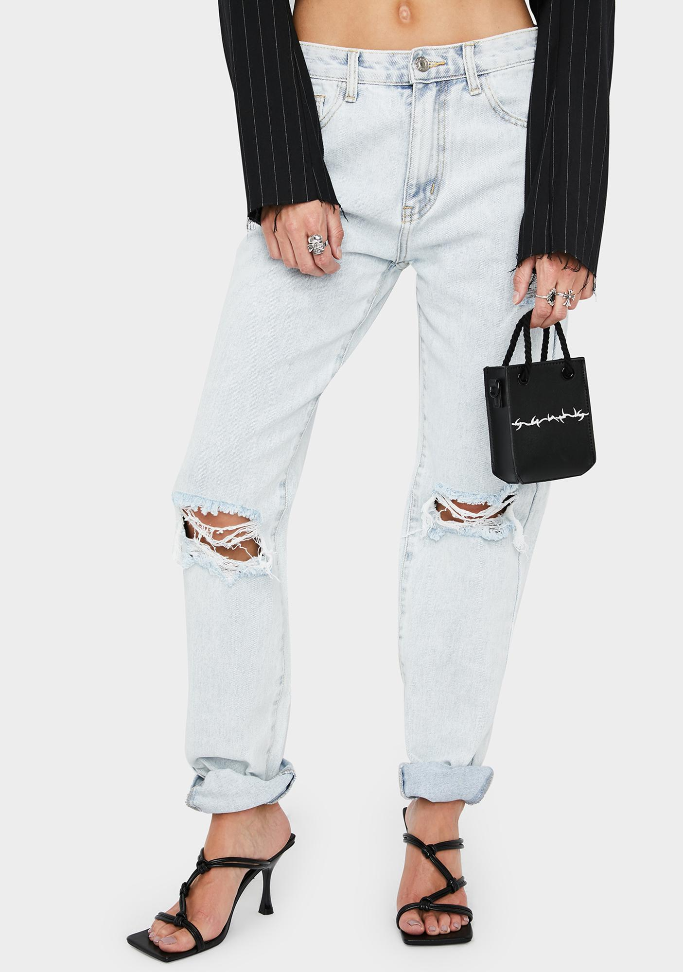 Momokrom Light Wash Distressed Bootleg Jeans