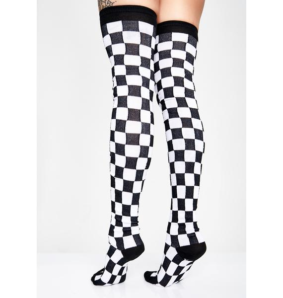 All Checked Out Thigh High Socks