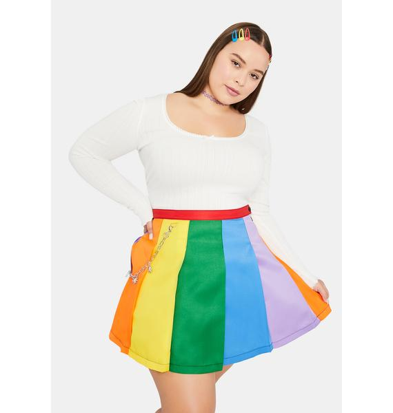 dELiA*s by Dolls Kill Honey All Is Bright Rainbow Pleated Mini Skirt