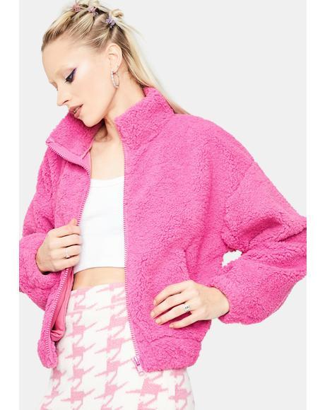 Hot Pink Winning Numbers Teddy Jacket