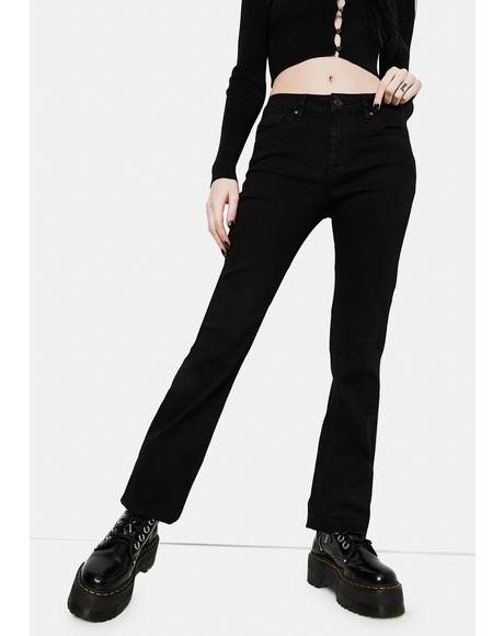 Black Marley Midrise Crop Boot Cut Jeans