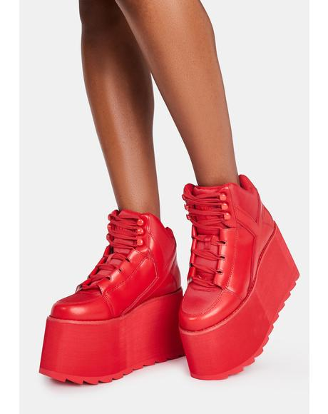 Red Qozmo Platform Sneakers