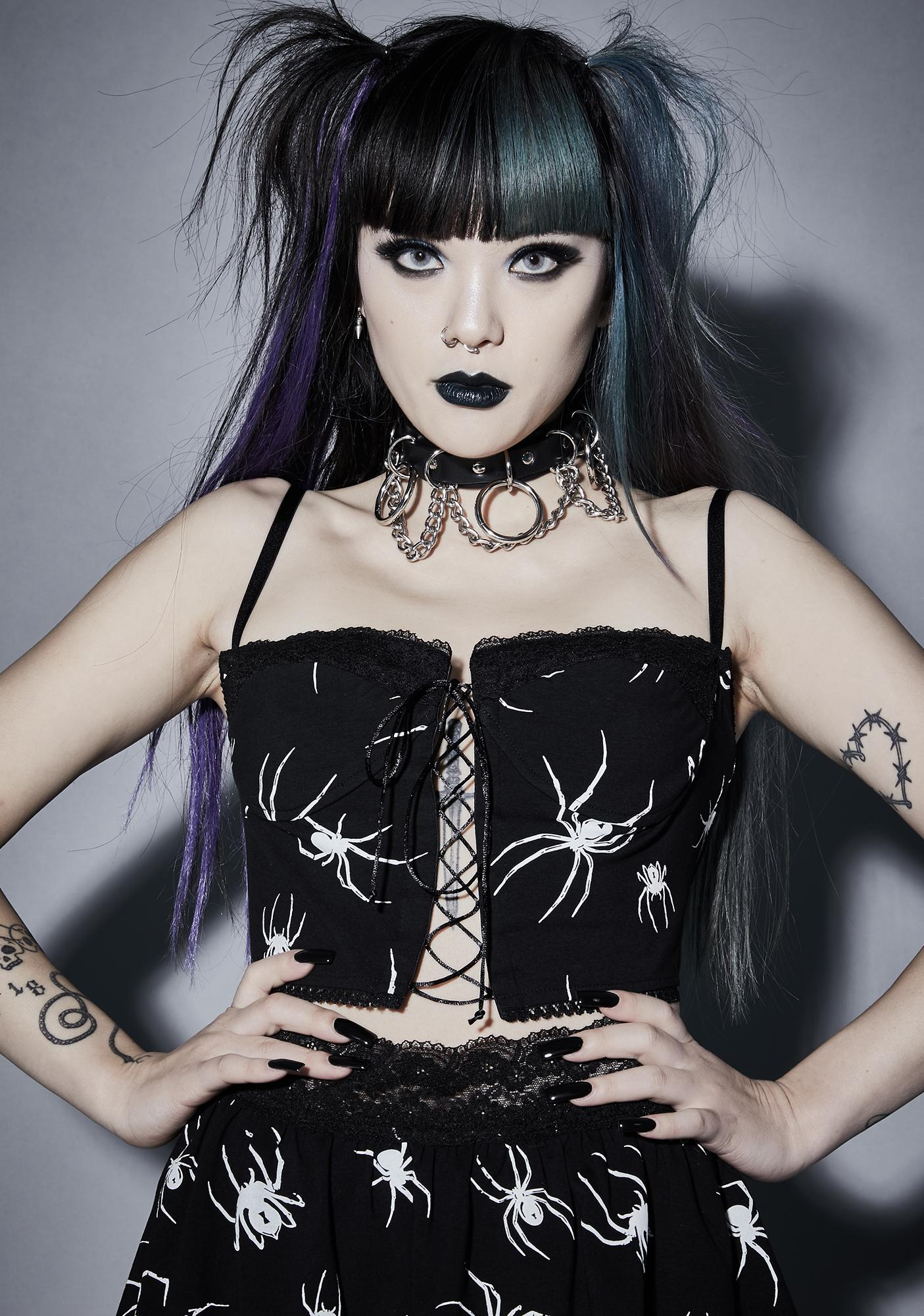 Widow Web Of Sins Corset Crop Top