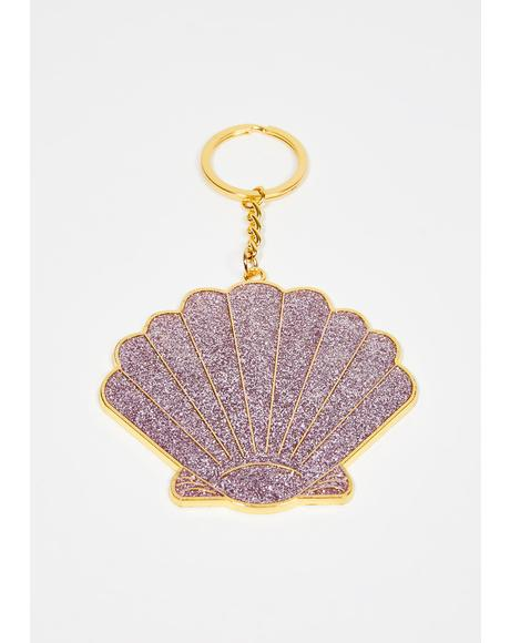 Beach Queen Shell Keychain
