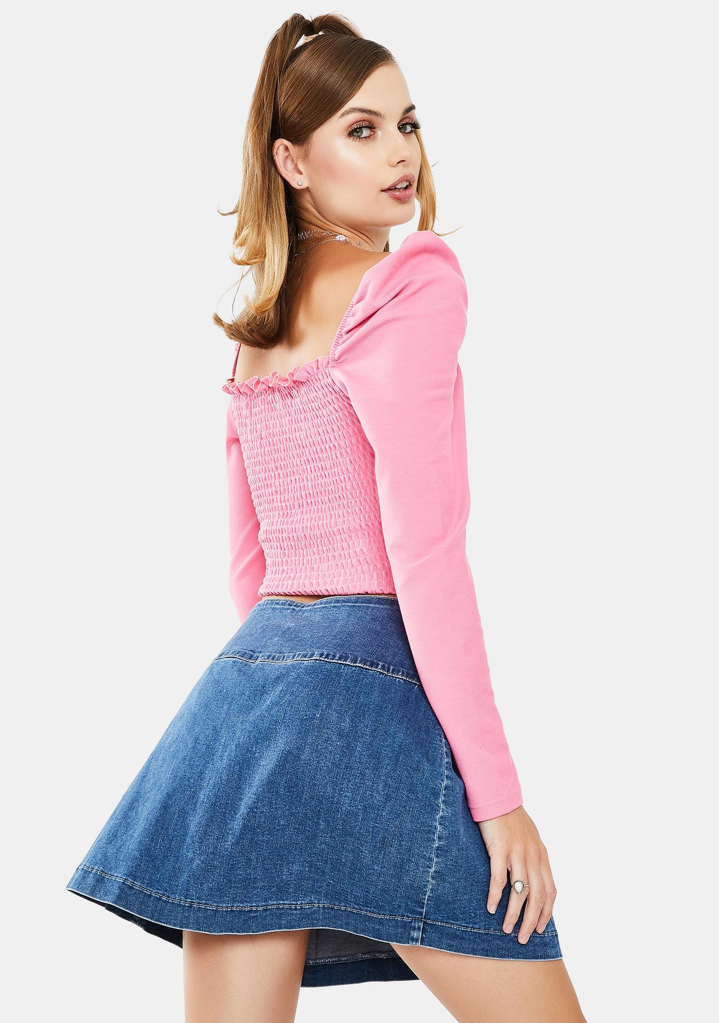 Glamorous Pink Ruffle Long Sleeve Top