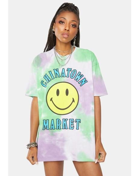 Smiley Multi Tie Dye Graphic Tee