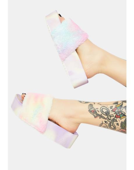 Lilac Grocery Glamour Fur Slides