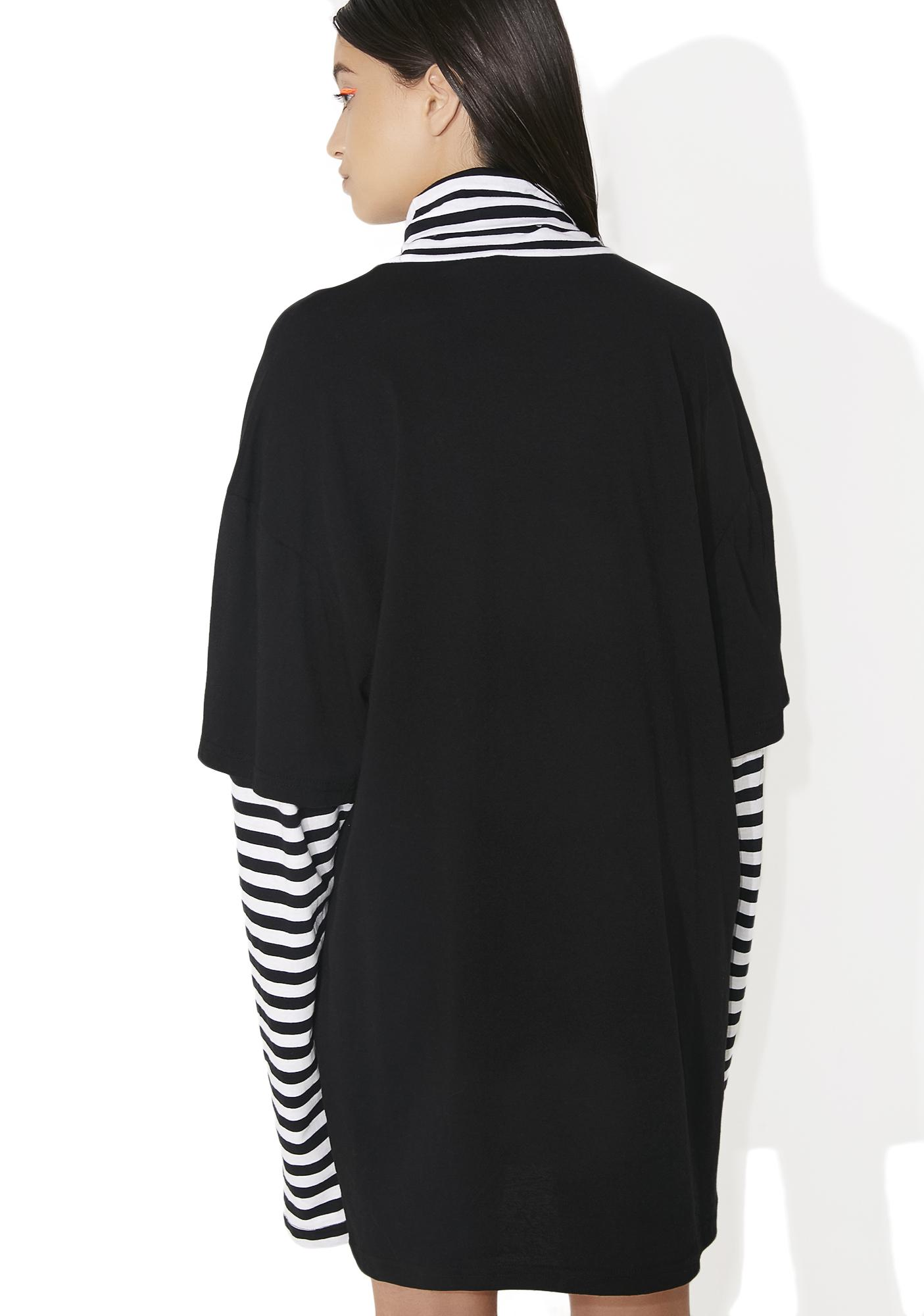 Jaded London Flame Heart Striped Layer Dress