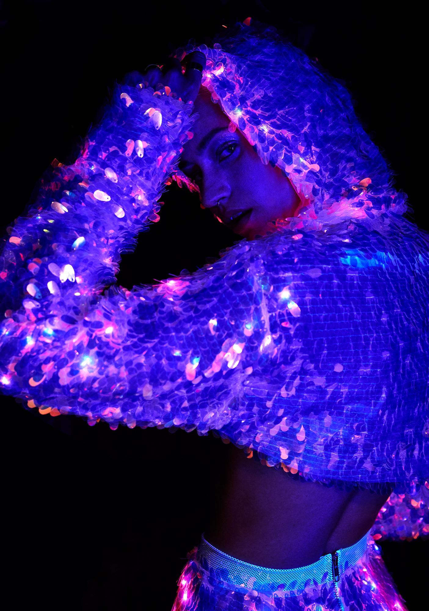 J Valentine Water Opal Light Up Sequin Shrug