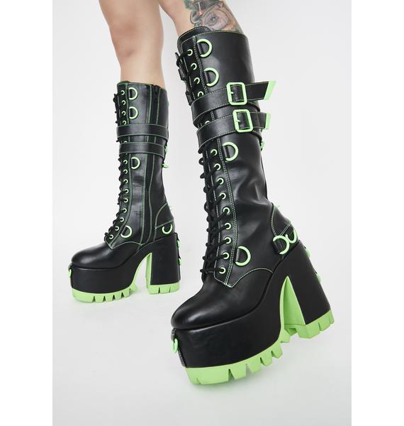Club Exx Atomic Wasteland Knee High Boots