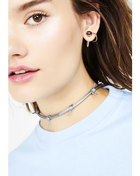 Chrome Don't Touch Barbed Wire Choker