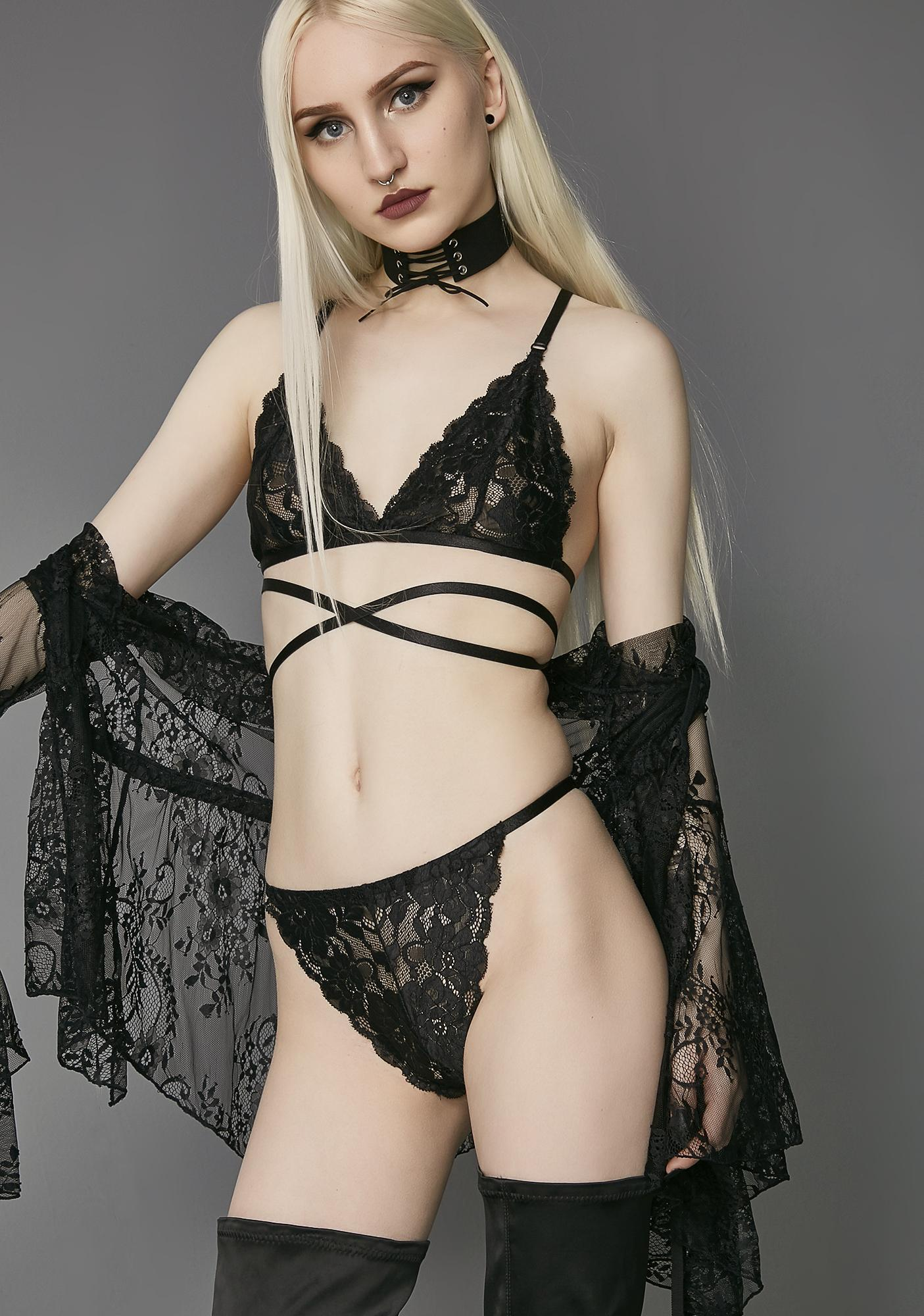 Widow Silent Heart Wrap Lace Bra