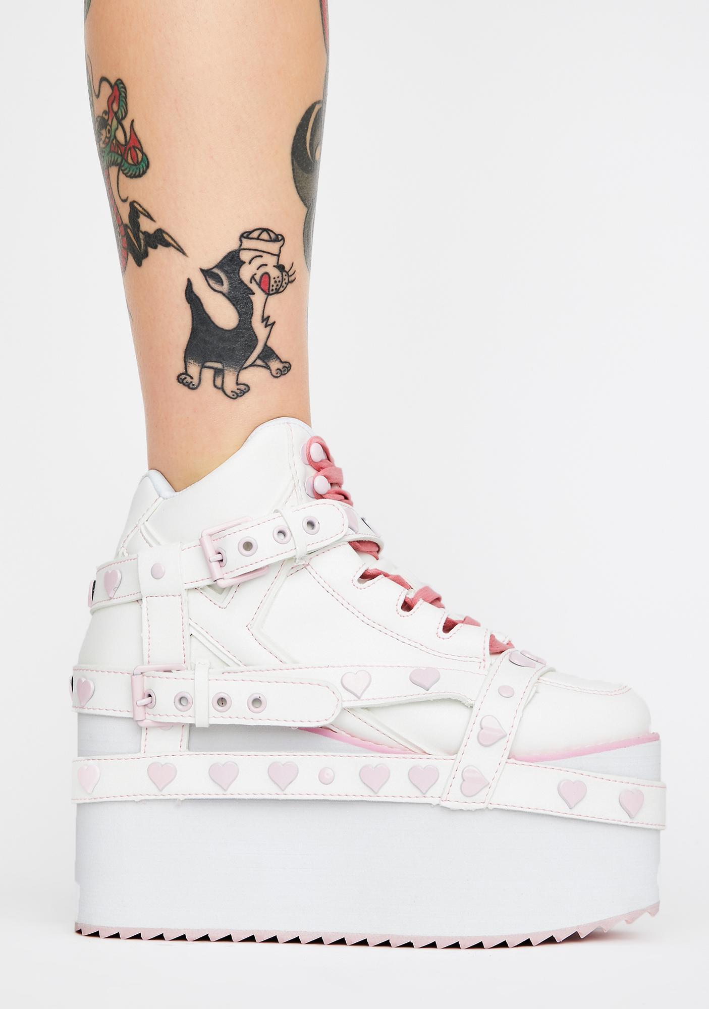 Y.R.U. Qozmo Bondage Pink Heart Platform Sneakers