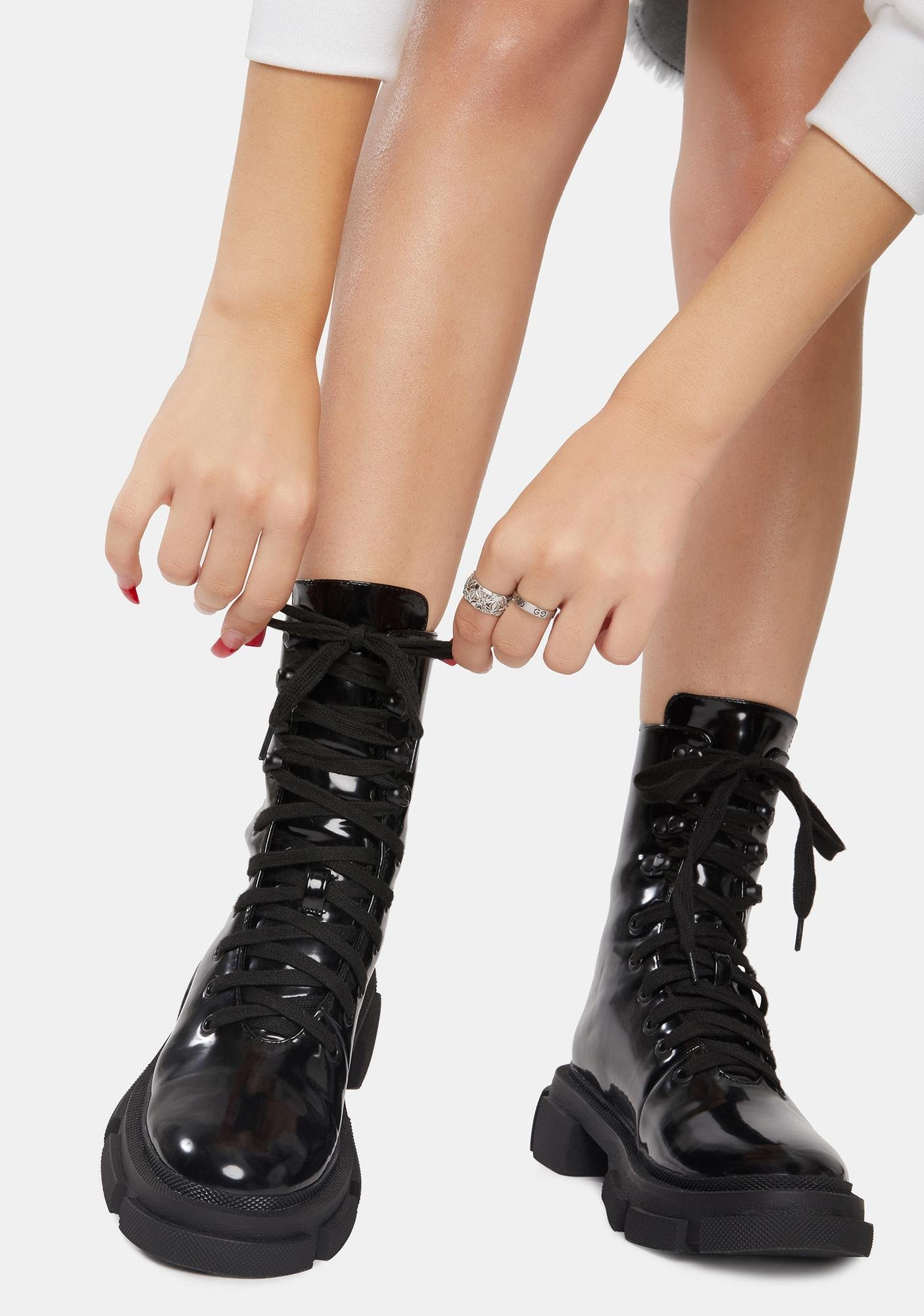 Current Mood Wicked Revenge Patent Combat Boots