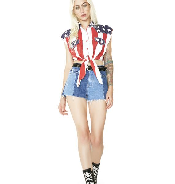 Vintage American Flag Top